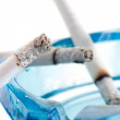 Closeup image of ashtray and cigarettes, isolated on white backg — Stock Photo
