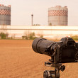 Stock Photo: Camerzooming on liquid cooling towers to inspect them
