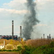 Stock Photo: Black smoke rises from power plant