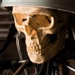 Close up of a robot with human skull and helmet — Stock Photo #5683502