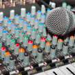 Texture of an audio mixer with microphone - Stock Photo