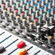 Closeup of an audio sound mixer — Stock Photo