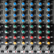 Closeup of buttons of a studio mixer — Stock Photo