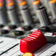 Big red slider on a sound mixer — Stock Photo