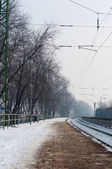 Train station at winter — Foto Stock