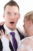 Surprised groom with her wife — Stock Photo