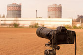 Camera zooming on liquid cooling towers to inspect them — Stock Photo