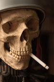 Portrait of a man who smoked cigarettes until he died — Stock Photo