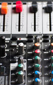 Texture of an audio sound mixer with buttons — Stock Photo