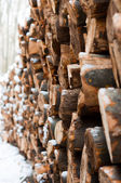 Logs of wood piled up with snow on them — Stock Photo