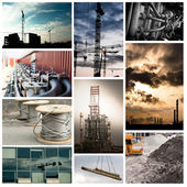Industrial tileset with buildings, hoses and construction sites — Stock Photo