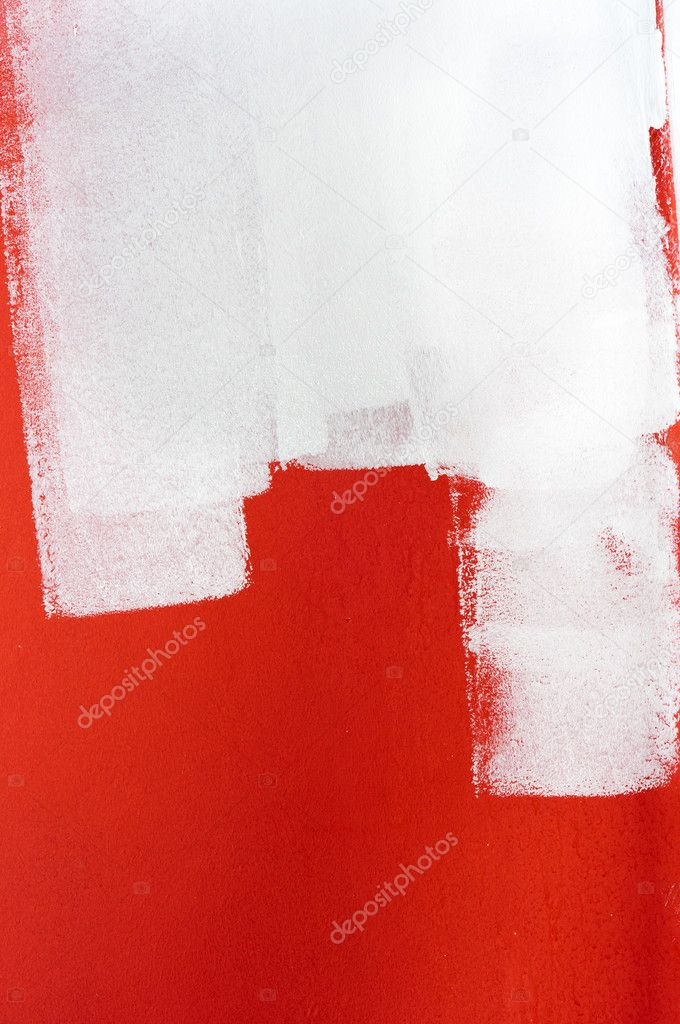 White paint over red wall  Foto Stock #5682865