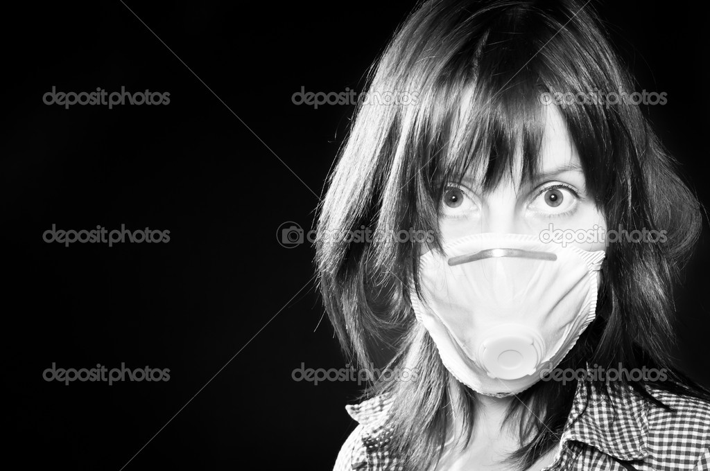 Girl wearing protective mask in black and white — Stock Photo #5683211
