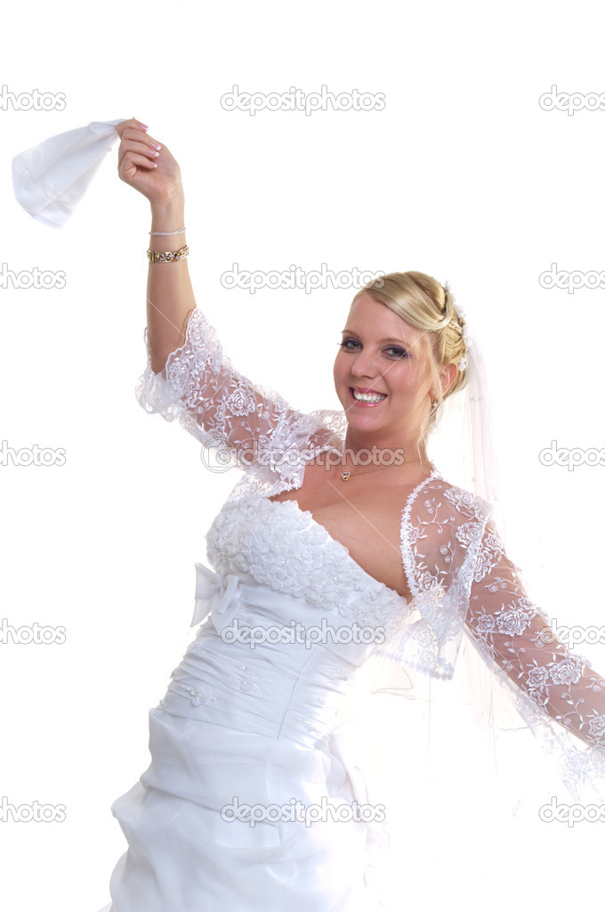 Young smiling bride on isolated white background holding napkin — Stock Photo #5683310