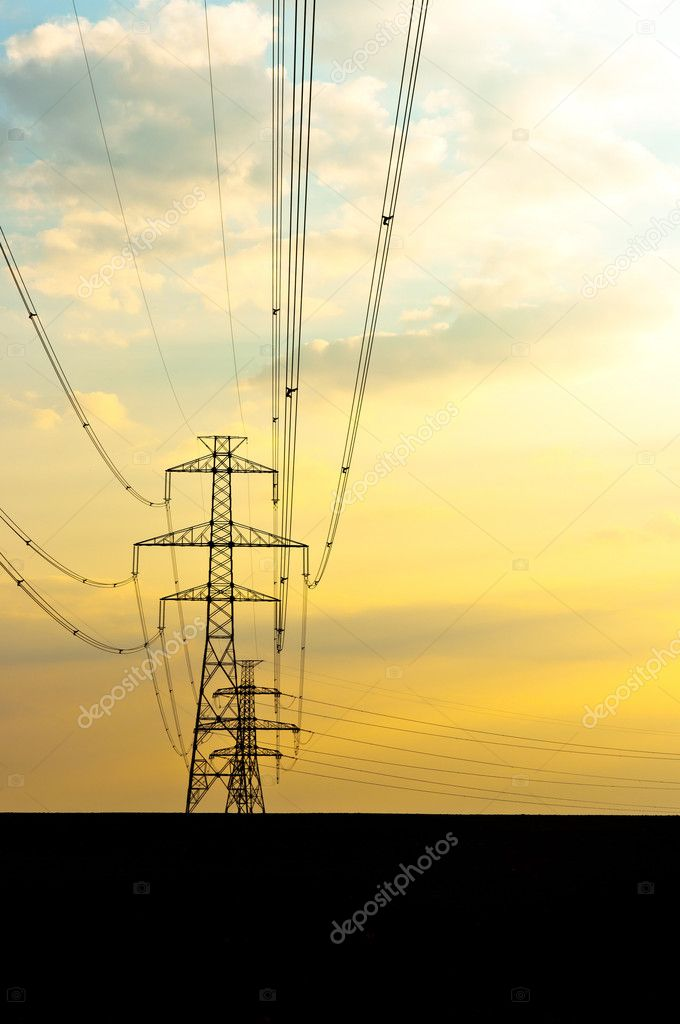 Electric lines with sunset  Stock Photo #5683411