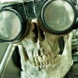 Human skull with insane look and goggles (robot) — Stock Photo #5814701