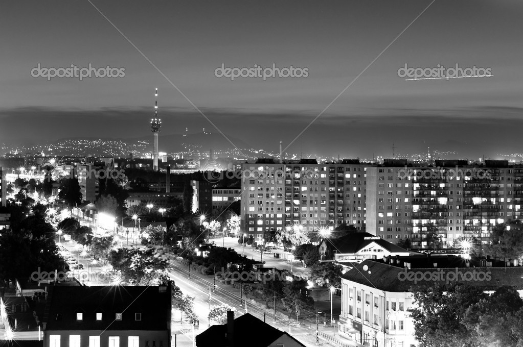 City at night in Hungary in black and white — Stock Photo #5814552