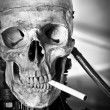 Closeup of a human skull on robot body with cigarette in mouth - Stock Photo