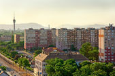 Suburbs of a city in europe with russian apartments — Stock Photo