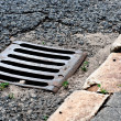 Sewer drain on road — Stock Photo