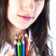 Student girl with colored pencils — Stock Photo #6299669