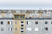 Many panel apartments in cool tones — Stock Photo