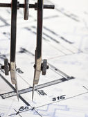 Construction plans under inspection — Stock Photo