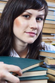 Young college student with her books — Stock Photo