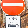 Do not cross sign with  strange vehicle — Stockfoto