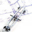 Stock Photo: Residential House Plans and Compass