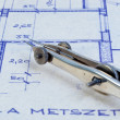 Closeup of a bow on blueprints — Stock Photo #6733657