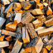 Texture of firewood piled up with evening light - ストック写真