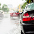 Rain and traffic jam on the road — Stock Photo