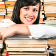 Cheerful young student and her books — Stock Photo