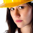Close up of a beautiful architect woman against isolated white b — Stock Photo