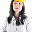 Portrait of a young engineer woman in yellow helmet — Stock Photo #6733793