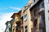 Authentic hungarian apartments with blue sky — Stock Photo