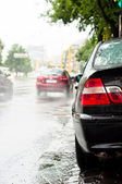 Rain and traffic jam on the road — Foto Stock