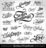 Holiday greeting headlines (vector) — Stok Vektör