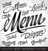 Menu headlines (vector) — Stok Vektör