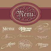 Menu headlines, hand lettering set (vector) — Stock Vector