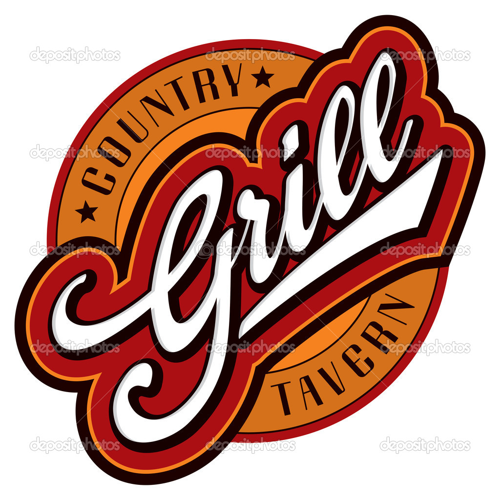 'grill' sign/logo - hand lettering design; scalable and editable vector illustration (eps8);  Stock Vector #6727003