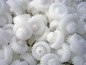 White plastic gears — Stock Photo