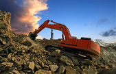 Excavator crushing rocks — Stock Photo