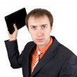The young businessman throws out laptop — Stock Photo