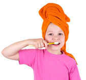 The girl brushes teeth a tooth brush — Stock Photo