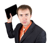 The young businessman throws out laptop — Foto Stock