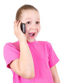 The beautiful girl with astonishment speaks on the phone — Stock Photo