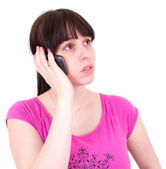 Young the woman speaks by a mobile phone. — Stock Photo