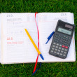 Diary, calculator and pen — Stock Photo #5690781